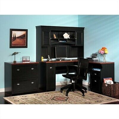 Bush Fairview L-Shaped Wood Home Office Set in Black L-shaped Home Office Set
