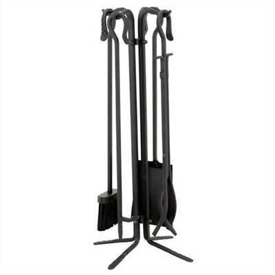 Uniflame 5 Piece Black Wrought Iron Fireset With Crook Handles ()