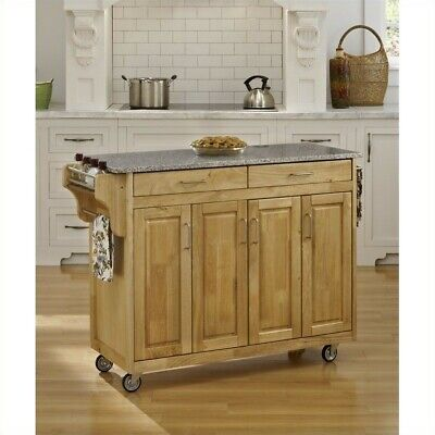 """Home Styles Create-a-Cart 49"""" Granite Top Kitchen Cart in Natural"""
