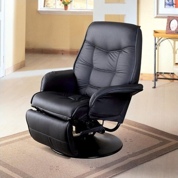 Coaster Furniture Faux Leather Swivel Recliner Chair in Black 1