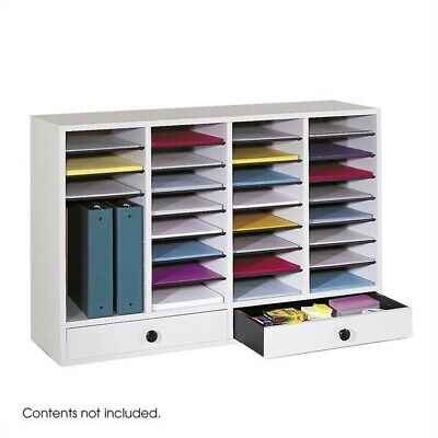 Safco Grey Wood Adjustable 32 Compartment File Organizer With Drawer