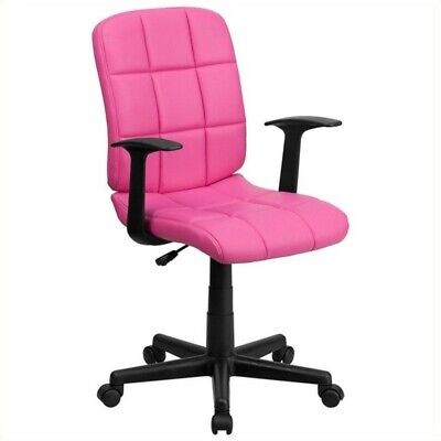 Flash Furniture Mid Back Quilted Task Office Chair With Arms In Pink