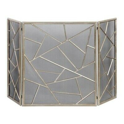 Beaumont Lane Modern Fireplace Screen in Antiqued Silver