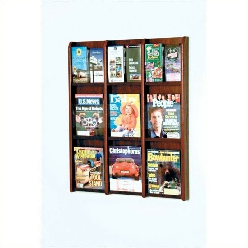 Wooden Mallet 9 Magazine and 18 Brochure Oak and Acrylic Wall Display in Maho...