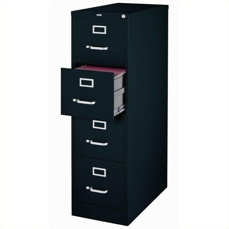 Hirsh 25 in Deep 4 Drawer Vertical Letter File Cabinet in Black