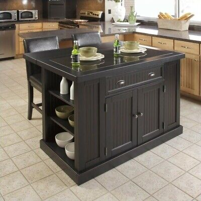 Home Styles Nantucket Island and Two Stools in Distressed Black