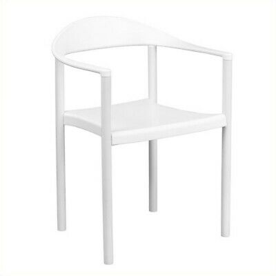 Flash Furniture Hercules Plastic Cafe Stack Stacking Chair in White ()