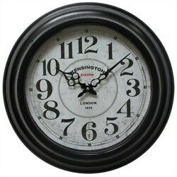 Yosemite Circular Skip Movement Wall Clock with Black Iron Frame