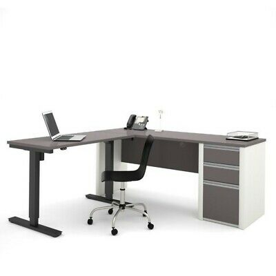 Bestar Connexion Power Adjustble L-shaped Table In Slate And Sandstone