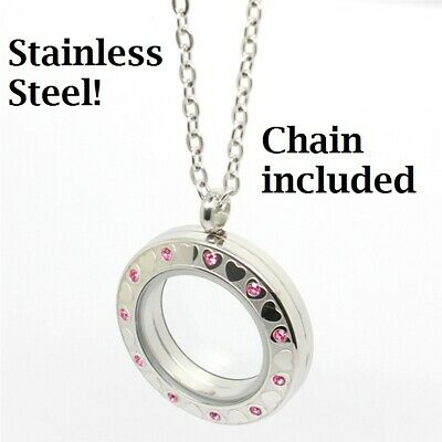 Stainless Steel Floating Charm Locket Living Memory Pendant Necklace Heart Stone - Floating Charm Locket Necklace