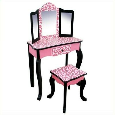Teamson Kids Vanity Table and Stool Set in Black and Pink - Pink And Black Table Settings