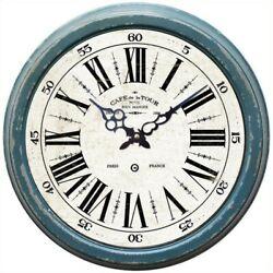 Yosemite Circular Iron Wall Clock with Distressed Blue Iron Frame