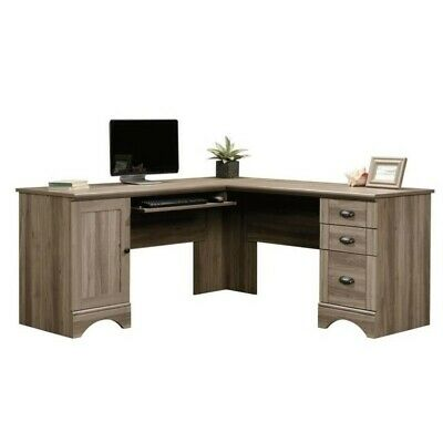 L-shaped Oak Computer Desk (Sauder Harbor View L Shaped Oak Computer Desk )