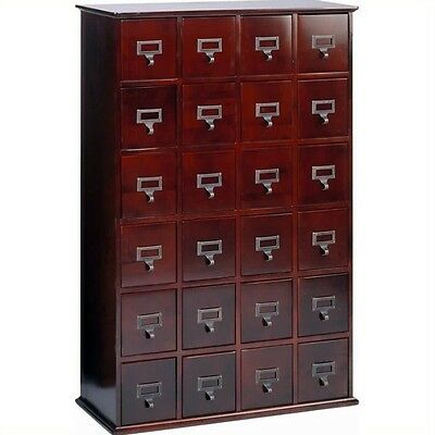 "Leslie Dame 40"" 24-Drawer CD Media Storage Cabinet Wood in Cherry"