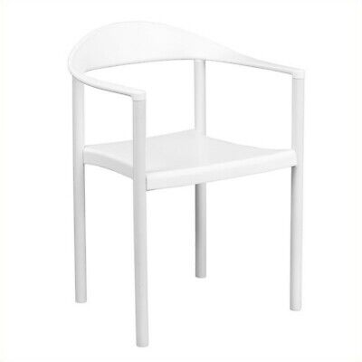 Bowery Hill Plastic Cafe Stack Stacking Chair in White ()