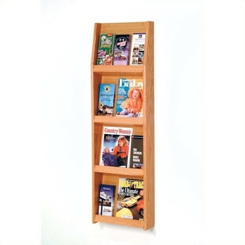 Wooden Mallet Literature Display in 12 Pocket in Light Oak