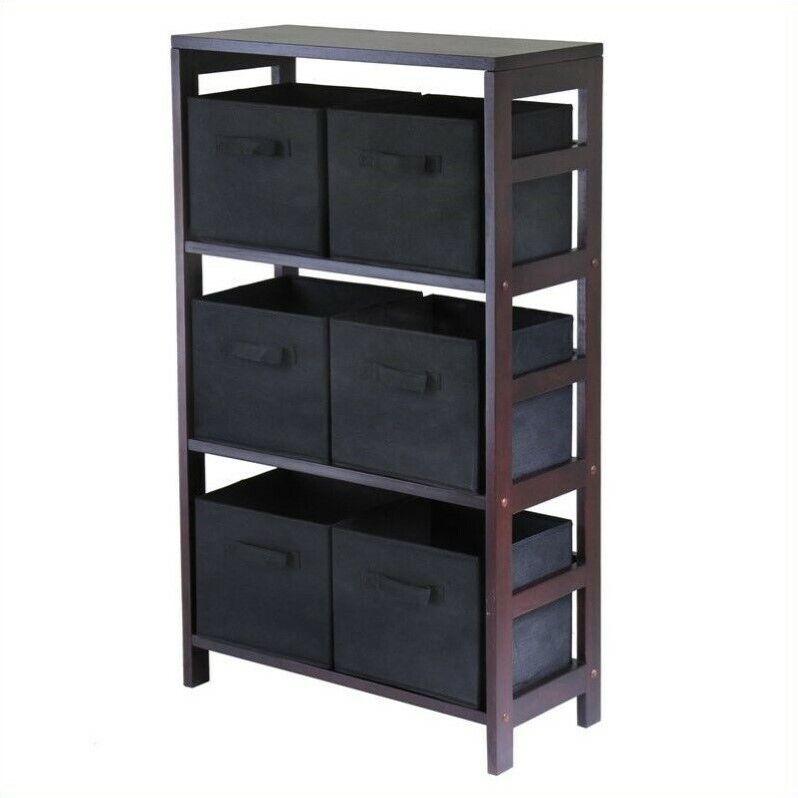 Pemberly Row 3 Shelf Storage Rack with 6 Foldable Black Baskets
