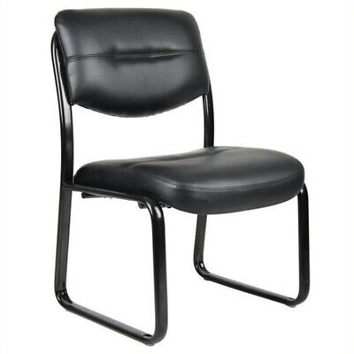 Boss Leather Guest Chair - Boss Office Products Leather Plus with Black Frame Guest Chair