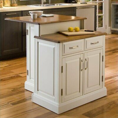Home Styles Woodbridge Two Tier Kitchen Island in White and