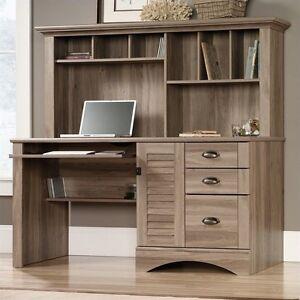Sauder Harbor View Computer Desk with Hutch in Salt Oak Home Office