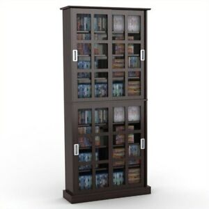 Atlantic   Windowpane 720 Media Cabinet With Sliding Glass Doors   Espresso