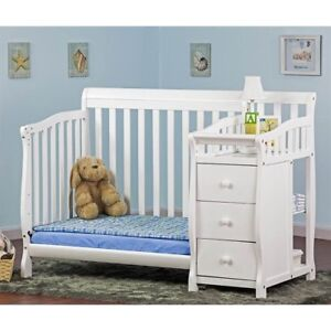 Dream On Me Jayden 4 In 1 Convertible Mini/portable Crib With Changer White