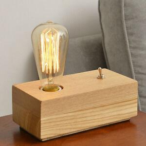 ... -Vintage-Retro-LOFT-Natrual-Wooden-Table-Desk-Lamp-Edison-Light-Bulb