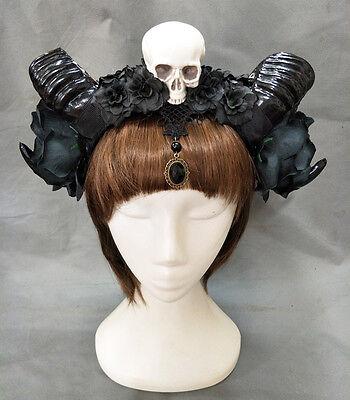 Halloween Stereo Devil Horns Skull Headband Gothic Sheep Horn Cosplay Headdress