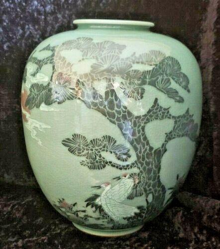 """Vintage Korean Celadon large vase crane blood moon crackle art glazed Asian 11"""""""