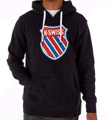 K-Swiss Golden Slam Lux Fleece Hoodie Sweatshirt Big Logo Patch Medium Black