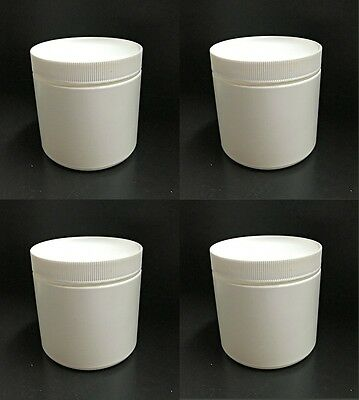 Lot of 4 Small White Plastic Canisters/Containers with Lid - Small Containers With Lids
