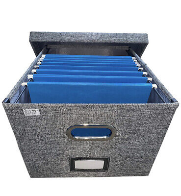 Linen File Storage Box Collaspible With 10 Letter Size Hanging File Folders