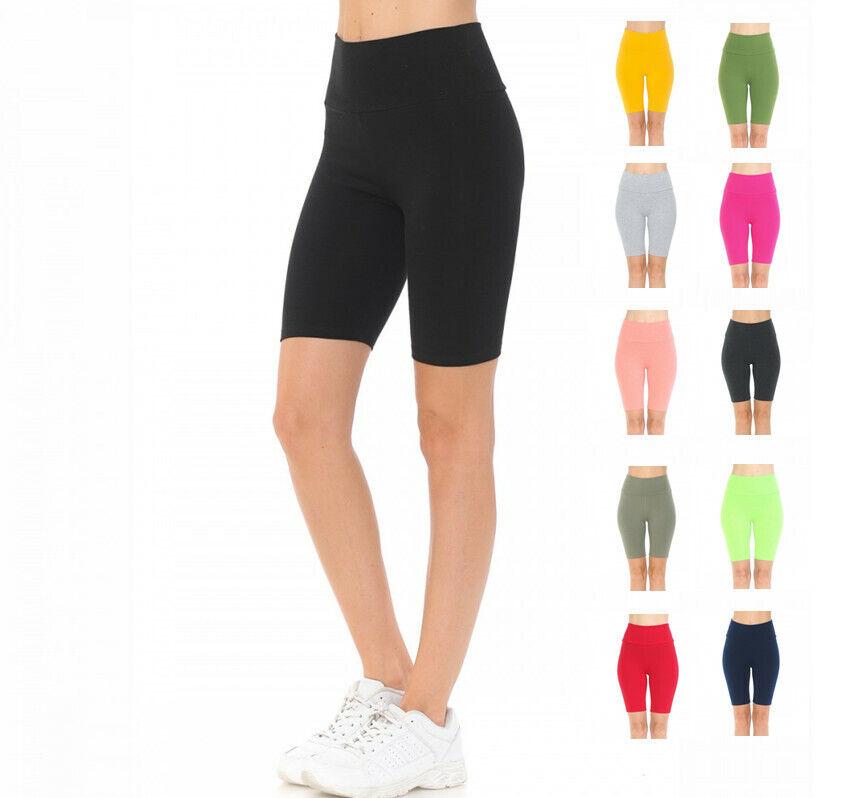 Women's High Waist Knit Bike Activewear workout Shorts Activewear