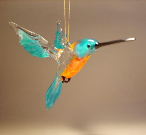 Blown Glass Figurine Bird Hanging Blue and Orange HUMMINGBIRD Ornament