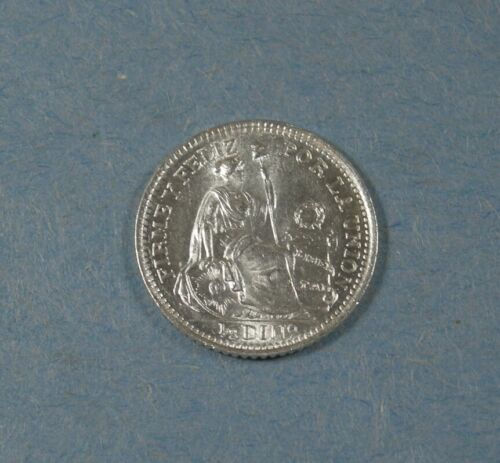 1905 PERU SILVER 1/2 DINERO - UNC.