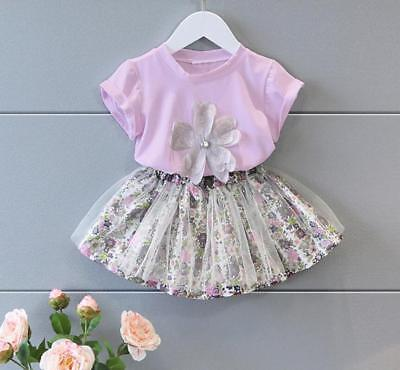2pcs Summer kids outfits for baby girls T-shirt & dress party Tutu dress floral](Tutu Outfit For Baby)