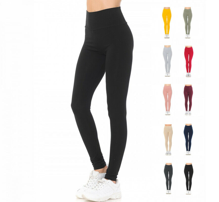Women's Solid High Waist Knit Leggings YOGA & GYM Clothing, Shoes & Accessories