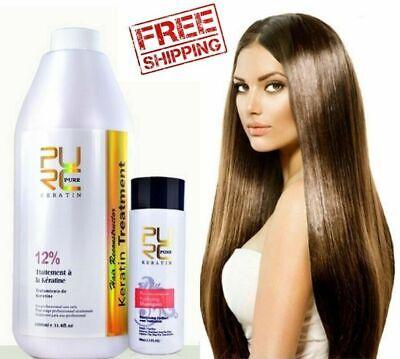 12% PURE BRAZILIAN KERATIN HAIR STRAIGHTENING TREATMENT BLOW DRY 1000ML 33.8 OZ.