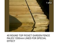 40 round too picket garden fence pales