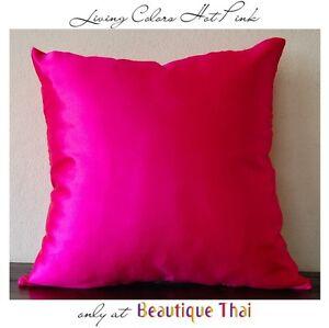 Luxury-Thai-polySilk-cushion-cover-pillow-sham-in-Hot-Pink
