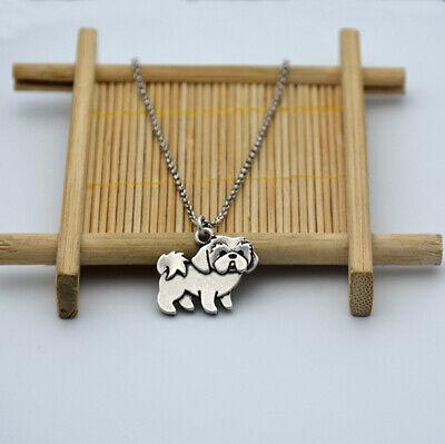 Shih Tzu Pendant - Small Shih Tzu Dog Canine Collection Silver Tone Fashion Pendant Necklace