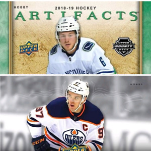2 box hockey break 2018-19 upper deck artifacts hobby abd 2018-1