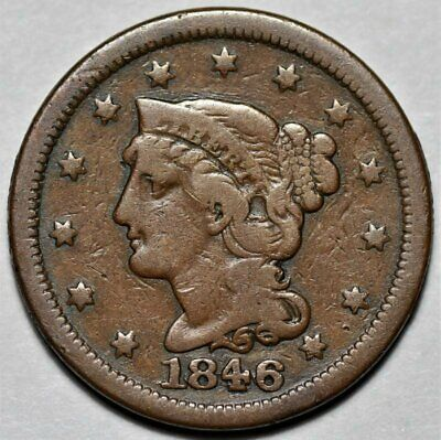 1846 Braided Hair Large Cent >> Small Date N-4 Repunched Date