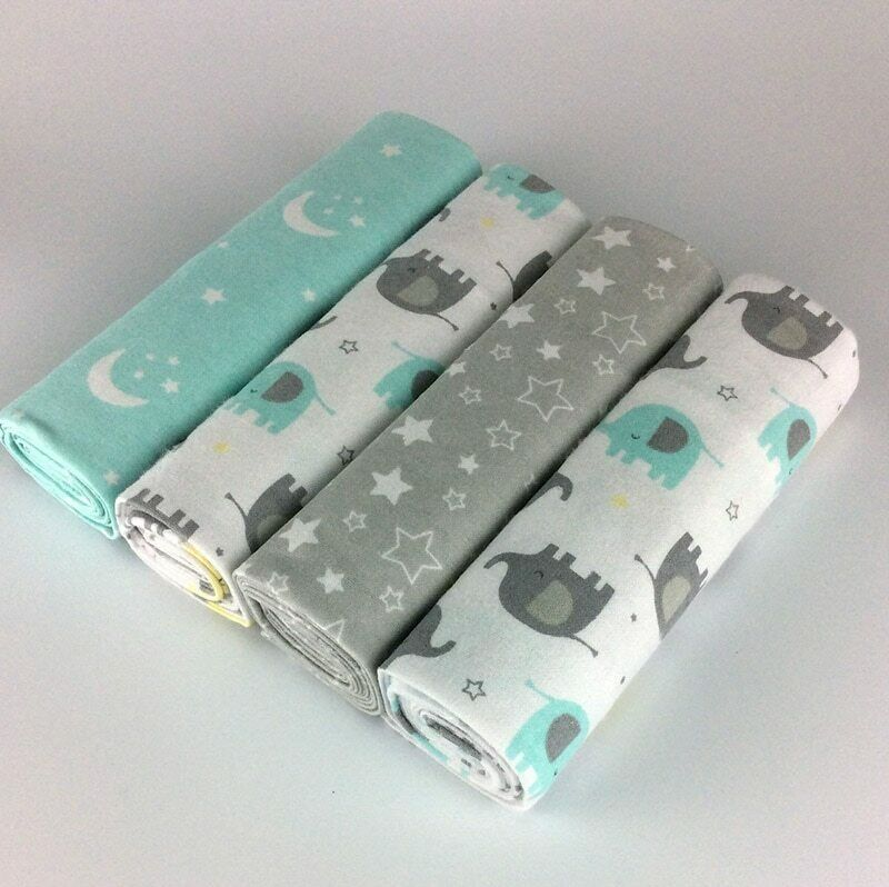 NEW color 4pcs/pack 100%cotton flannel receiving baby blanke