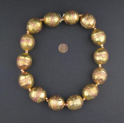 Jumbo Artisanal Ethiopian Brass Beads Strand 28mm African Oval Large Hole