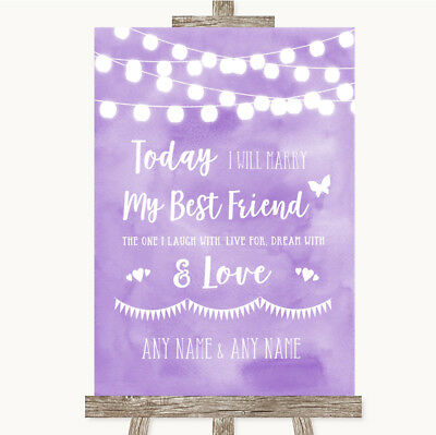 Wedding Sign Poster Print Lilac Watercolour Lights Today I Marry My Best Friend](Marry My Best Friend)