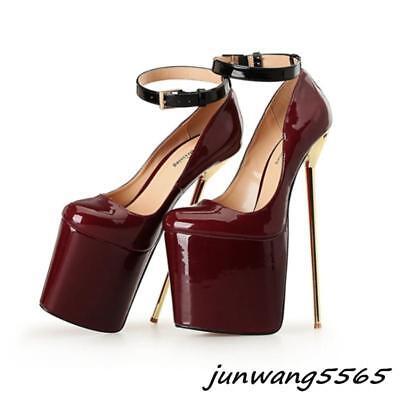 Abendschuhe Damen Pumps Plateau Stiletto Fesselriemen Lackleder 22cm Clubwear  ()