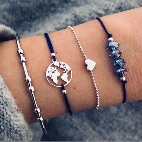 4Pcs//Set Women Pearl Starfish Tassel Rope Love Beads Map Charm Bangle Bracelet