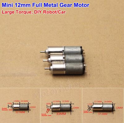 Mini 12mm Dc 3v Gear Motor Micro Full Metal Gearbox Large Torque Diy Robot Car