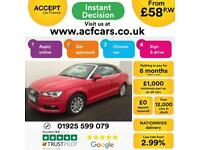 2015 RED AUDI A3 CABRIOLET 2.0 TDI SE DIESEL MANUAL CAR FINANCE FROM 58 P/WK
